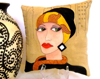 ART DECO ZELDA, hand painted pillow, new york city, bronze,mustard, art deco, decorative pillow, gift for her,christmas, fun quote