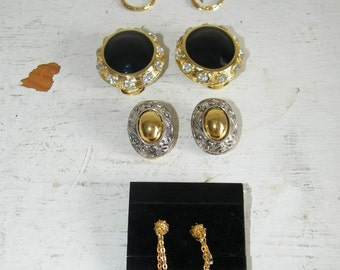 Lot 5 Pairs Clip on Earrings Vintage & NEW 6636