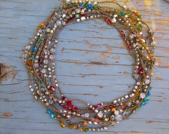 Sparkling reflections crocheted wrap bracelets/necklaces, in color, boho chic natural jewelry by Sydney