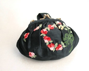 Vintage silk purse with rose floral design