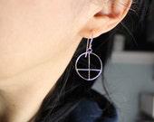 Porthole cross earrings - sterling silver, architectural window, cross hoop earrings, minimalism, geometric design, everyday earrings
