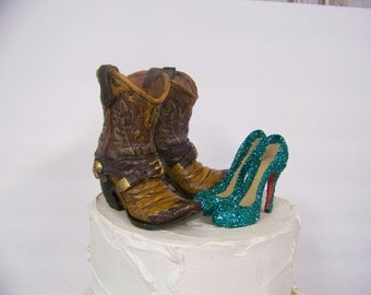 Wedding Cake Topper-Pair of Western Cowboy Boots with Sparkling Teal Green Stilettos-Groom's Cake Topper
