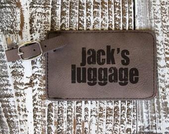 Dark Brown Leather Engraved Luggage Tag, Custom Luggage Tag --7273