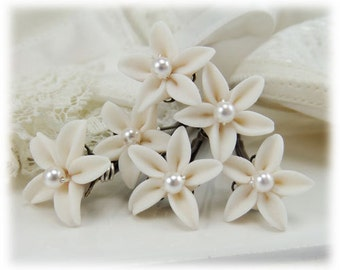 Small Jasmine Pearl Hair Pins - Tiny Wedding Hair Flowers