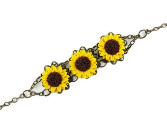 Three Sunflower Vintage Style Bracelet - Trio Sunflower Jewelry, Sunflowers Filigree Bracelet