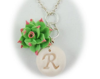 Personalized Pink Tip Succulent Initial Necklace - Pink Tip Succulent Jewelry