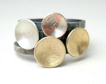 Sterling Silver and Mokume Gane Stacking Rings,  Stacking Drops,  Four Rings