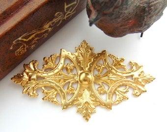 BRASS Art Nouveau Leaf Brass Stampings - Jewelry Ornament Findings (FC-4) #
