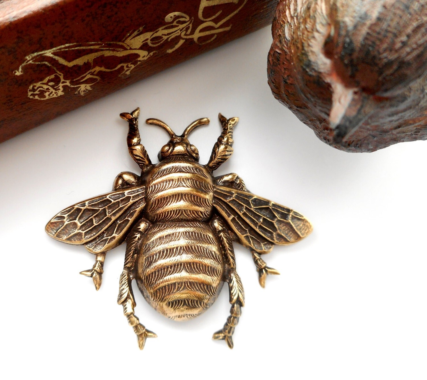 Victorian Large Bee Antique Ox Brass Stampings Jewelry
