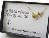 Gold Anchor Necklace, Bridesmaids Jewelry, Flower Girl, Mother Daughter Jewelry, Charm Necklace, Sideways Anchor Necklace,Necklace with Card