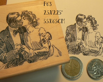 P63 couple kissing rubber stamp