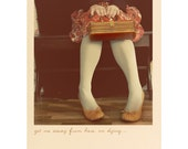Quirky Portrait, Wanderlust, Whimsical Photograph, Text, Peach Color, Pink, Retro Home Decor, Vintage Style Photo, Fine Art Print