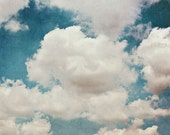 Abstract Cloud Photograph, Nature Photography, Painterly, Dark Teal Blue Sky, Large Wall Art, Home Decor, Nursery Art, Dramatic, Aqua