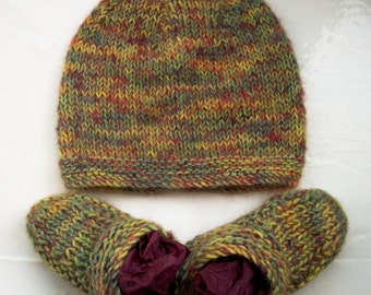 Baby hat bootees set unique hand dyed alpaca wool green yellow plum unisex  by SpinningStreak