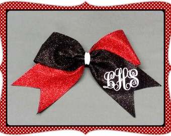 """3"""" Customized Solid Glitter Monogram CheerBow or Softball Bow by No Bow No Go!"""