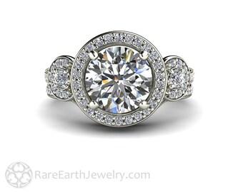 Moissanite Engagement Ring Wedding Band Moissanite Wedding Set Diamond Halo 14K or 18K Gold Conflict Free Wedding Set