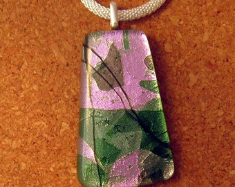 Fused Dichroic Pendant - Dichroic Jewelry - Fused Glass Pendant - Dichroic Pendant - Dichroic Necklace - Fused Glass Necklace - Pink