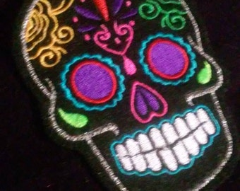 Day of the Dead, Black Sugar Skull Embroidery Patch purple eyes