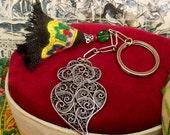 Portuguese filigree Viana heart key chain Silver folk-Get home page Coupon