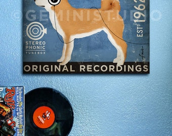 Shiba Inu records dog graphic illustration art on gallery wrapped canvas by stephen fowler