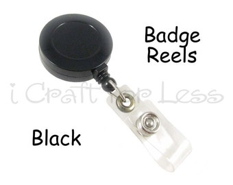10 Black ID Badge Reel Lanyard -  Retractable Cord and Belt Clip - SEE COUPON