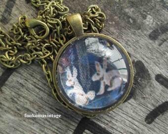Vintage Bunny friends necklace round brass charm Spring necklace Brass circle pendant 2 tiny White Rabbits charm necklace