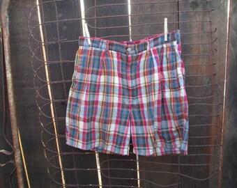 Madras Polo Shorts Vintage 80s Ralph Lauren Plaid cotton pleated summer shorts 34
