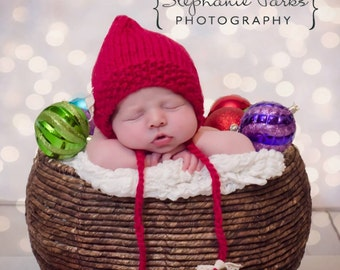 Ready to Ship knit red Christmas bonnet newborn photography prop