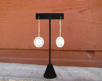 Einstein Rings dangle earrings with vintage acrylic cracked ice bead, glass beads and Delicas
