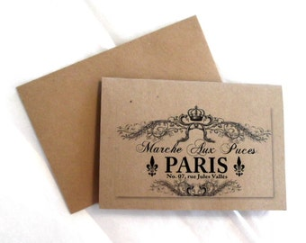 Blank Note Card Paris Flea Market French Note Card and Envelope