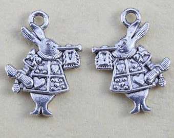 10pcs Tibetan Silver Rabbits Charms Pendants Jewelry Finding Embellishments - Alice in Wonderland