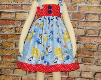Girl Dress, Toddler Dress, Fairy Tale Dress,Summer Dress Made With Snow White Fabric, Birthday Girl Dress, Tea Party Dress, Girl Red Dress