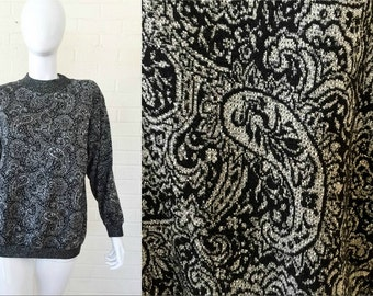 90s Vintage Metallic Silver Sparkle Black PAISLEY Sweater Top M