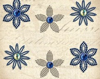 K&Co Blue Awning - Beaded Flower Brads  ***PRICE REDUCED!!!