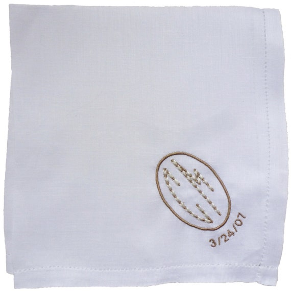 Custom Embroidered and Personalized Linen Handkerchief for Men