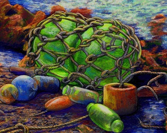 original art  16x20 drawing Japanese Glass Floats fishing beach