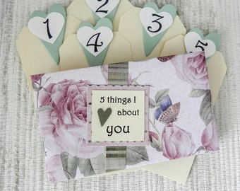 5 Things I Love About You Tag Book - Pink Roses
