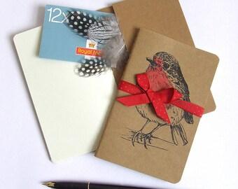 Red Robin Notebook, Moleskine Notebook, Hand Printed Bird Notebook