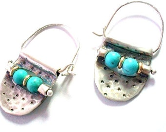 Small Turquoise silver Hoops-Tribal Sterling Hoops-Jewelry for women-Everyday Earrings-Ethnic Earrings-Artisan Earrings-Gemstone Earrings