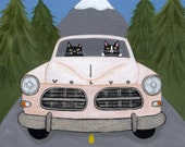 Pacific Northwest Cats Road Trip Folk Art Print 5x5, 8x8, 10x10, 12x12