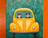 LARGE Yellow Bug Road Trip CATS 16 x 20 Original Folk Art Painting