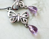 Amethyst Sterling Silver Butterfly Earrings Handmade Birthstone Jewelry