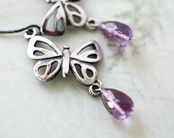 Amethyst Sterling Silver Butterfly Earrings, Handmade Silver Butterfly Jewelry,  Nature Inspired Amethyst Birthstone Earrings