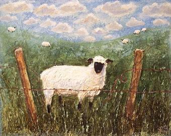 Children's Art - Lamb Sheep - Art Print - Children's Room - Nursery art