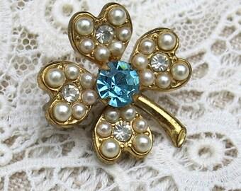 Vintage Shamrock Brooch, Pin ... Aqua, Turquoise Rhinestone, Pearl & Clear Rhinestone Leaves ...  Vintage Clover Pin .