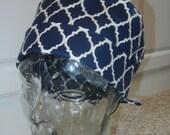 Tie Back Surgical Scrub Hat in Navy Blue Lattice Quatrefoil