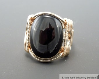 14 k Gold Filled Black Onyx Cabochon Wire Wrapped Ring