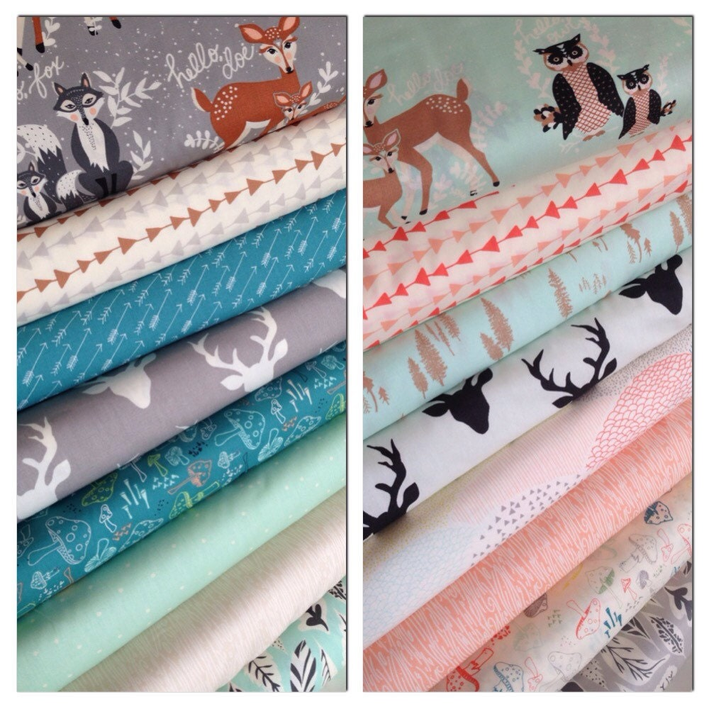 Hello bear fabric bundle deer fabric baby quilt fabric for Baby girl fabric