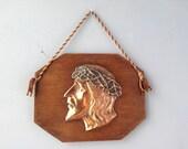 VINTAGE DECOR...Jesus in bronze wall art ~ wood plaque ~ rare religious artifact ~ home ~ church office decor
