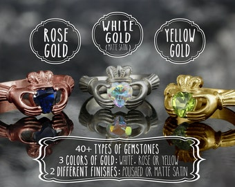 Personalize your own claddagh ring in 14kt gold - Pick your gemstone
